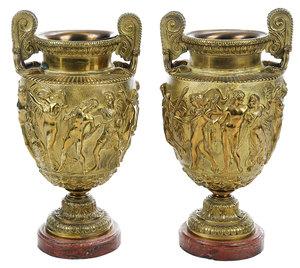 Pair Gilt Bronze Townley Vases