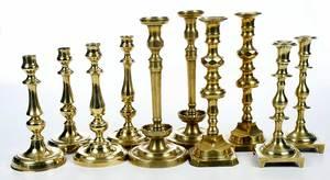 Five Pairs Brass Candlesticks