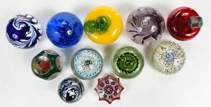 11 Assorted Glass Paperweights