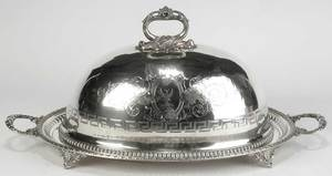 Silver-Plated Meat Dome and Tray