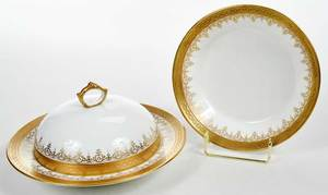 Gilt Chelsea Porcelain Covered Bowl and Bowl
