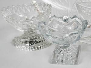Group Eight Cut Glass Table Objects
