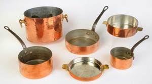 Six Pieces Hammered Copper Cookware