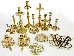 13 Brass 18th Century Style Table Items