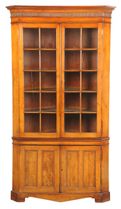 Southern Chippendale Walnut Corner Cupboard