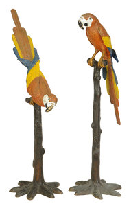 Two Cold Painted Bronze Parrots on Stands