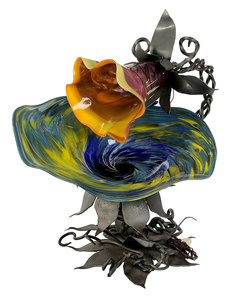 Herman Leonhardt Glass Iron Sculptural Lamp