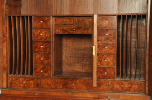 Georgian Walnut Mirror Door Desk and Bookcase