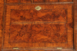 Georgian Walnut Mirror Door Desk and Bookcase