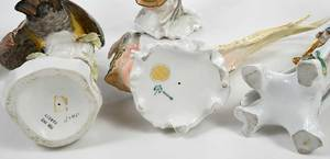 Six Porcelain Bird Figurines, Chelsea Style