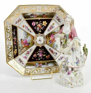 Continental Porcelain Tray and Figurine, Meissen