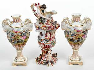 Three Pieces Capodimonte Porcelain