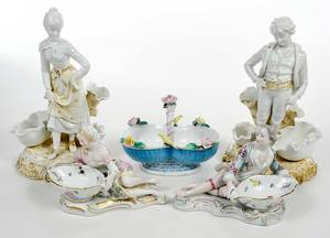 Five Porcelain Figural Table Objects, Rudolstadt