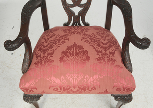 Chippendale Style Carved Arm Chair, Footstool