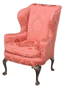 George II Style Damask Upholstered Wing Chair