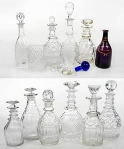 Assembled Group Ten Cut Glass Decanters