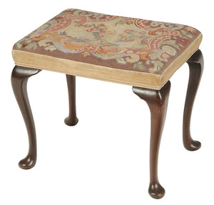 Queen Anne Style Mahogany Needlepoint Footstool