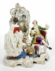 Volkstedt Figural Lace Porcelain Couple, Mirror