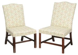 Near Pair George III Mahogany Side Chairs