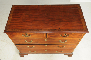 Chippendale Inlaid Mahogany Five Drawer Chest
