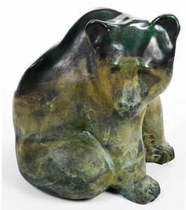 Signed Modern Green Patinated Metal Bear Sculpture