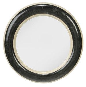 Modern Two-Toned Stone Circular Mirror
