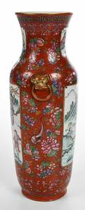 Chinese Enameled Iron Red Vase