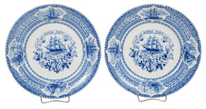 Two Rare Royal Navy Mess Plates No. 10