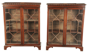 Pair Chippendale Style Inlaid Bookcase Cabinets