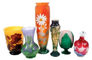 Six Art Nouveau Style Cameo Glass Objects