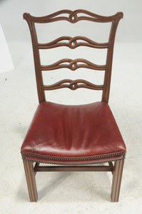 Set Eight Chippendale Style Ribbon Back Chairs