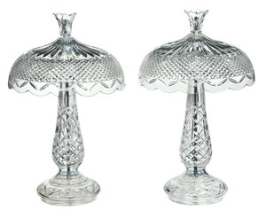 Pair Waterford Crystal Achill Hurricane Lamps