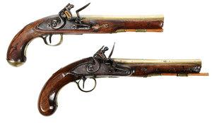 Two Georgian Ketland Flintlock Pistols