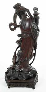 Chinese Carved Figural Guanyin on Stand