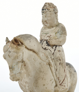 Chinese Painted Pottery Figural Horse with Rider