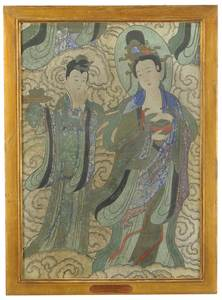 Early Chinese Fresco With Two Female Deities