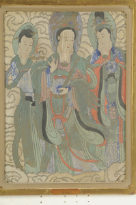 Early Chinese Fresco With Three Female Deities