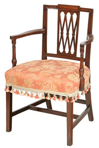 Open Arm Side Chair with Upholstered Seat