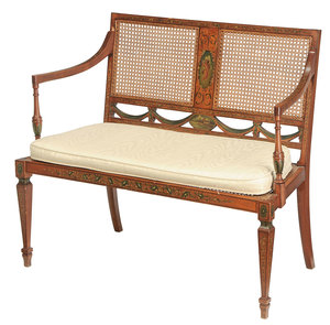 Adam Style Satinwood Hand Painted Settee