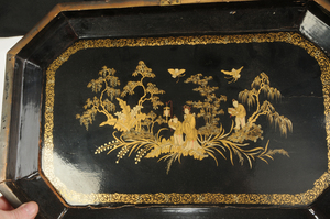 Large Chinese Lacquered Fitted Tea Box