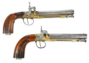 Near Pair Fine Percussion Flintlock Pistols
