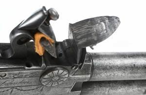 British Double Barrel Flintlock Pistol