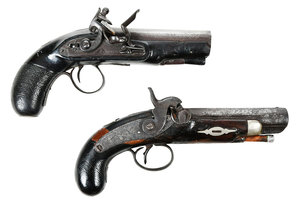 Two Derringer Pistols, Flintlock and Percussion