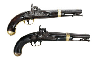 Two H. Aston Percussion Pistols Model 1842
