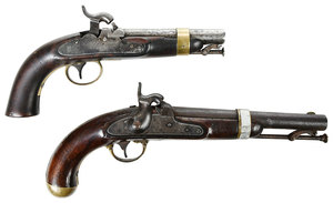 Two Percussion Pistols H Aston, N. P. Ames