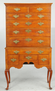 New England Queen Anne Tiger Maple High Chest