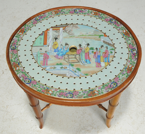 Chinese Export Porcelain Strainer Side Table