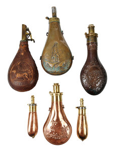 Six Hunting Powder Flasks