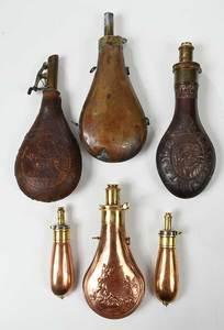 Six Hunting Powder Flasks