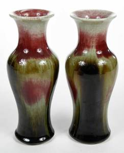 Near Pair Chinese Flambé Vases